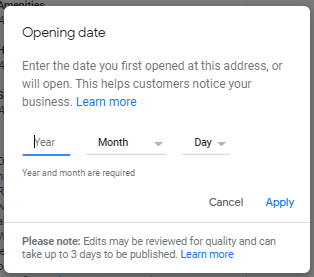 Add opening date GMB