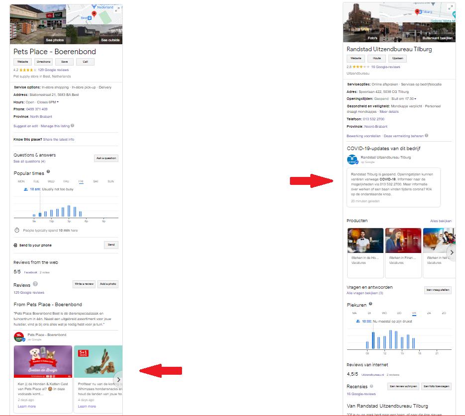 Google Post comparison